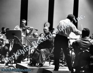 Isaac Stern and Pablo Casals with orchestra