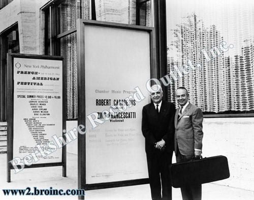 Robert Casadesus and Zino Francescatti with Lincoln Center poster