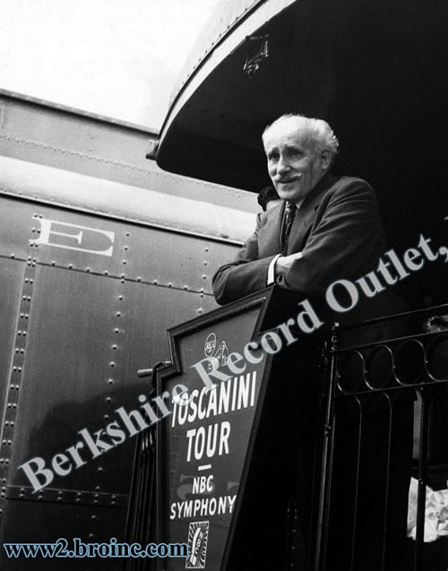 Arturo Toscanini on rear of tour train