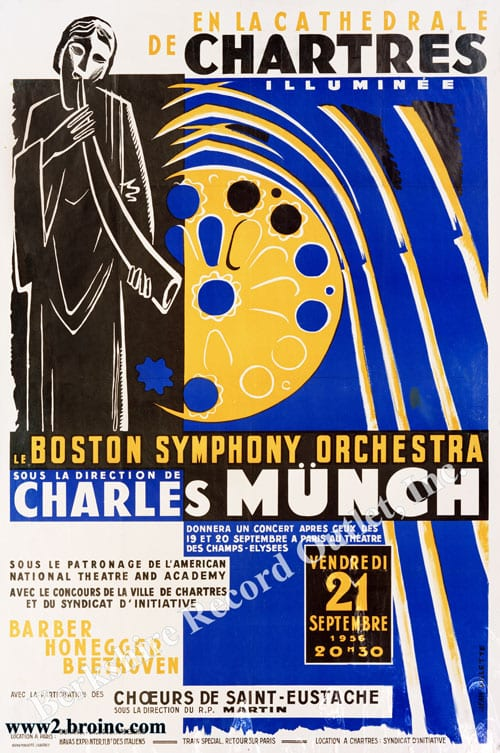 Boston Symphony Orchestra tour poster for Chartres concert