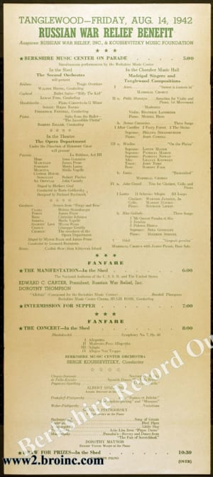 Boston Symphony Orchestra poster for benefit concert for Russian War Relief