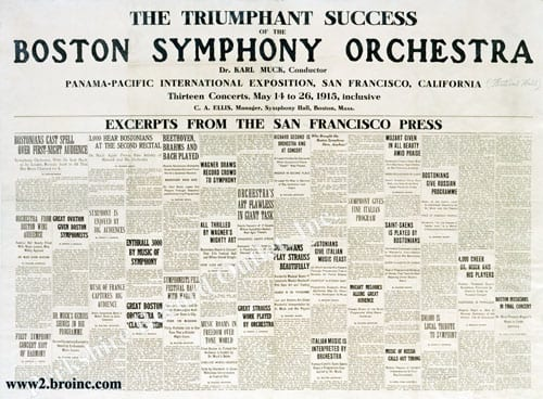 Boston Symphony Orchestra: Reviews from the San Francisco press, 1915