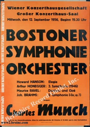 Boston Symphony Orchestra tour poster for Vienna concert